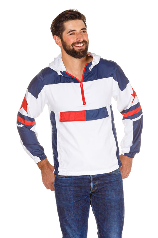 red white and blue windbreaker