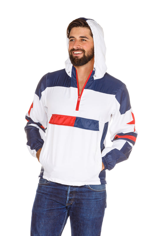 red white and blue windbreaker with hood