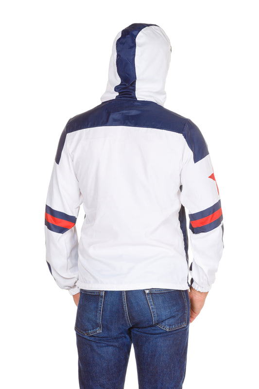 white wind resistant jacket with hood
