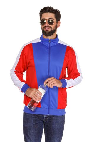 Red, white and blue color block track jacket