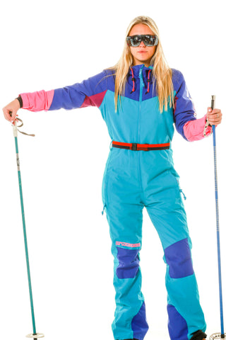 women's retro blue ski suit onesie