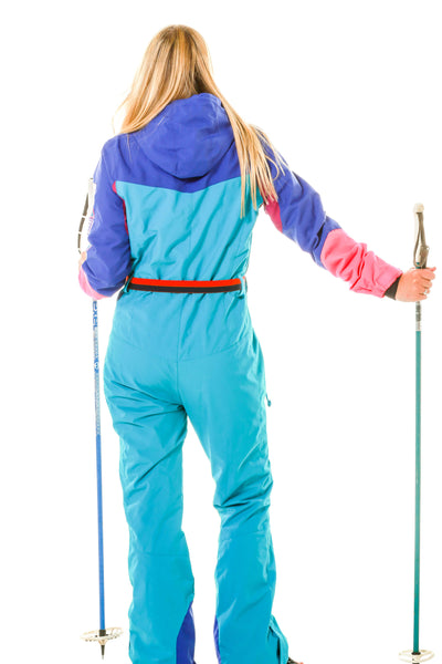back of ladies 80s vintage inspired ski suit by O'neill