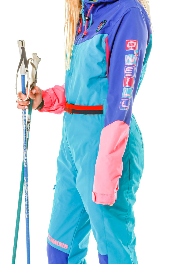 color details pink, purple, blue of gals 80s inspired ski suit