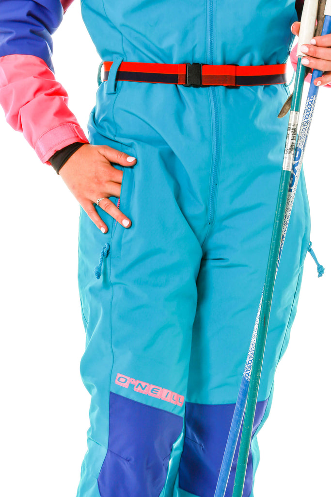 Belt, zipper, knee detail of O'neill 80s womens ski gear