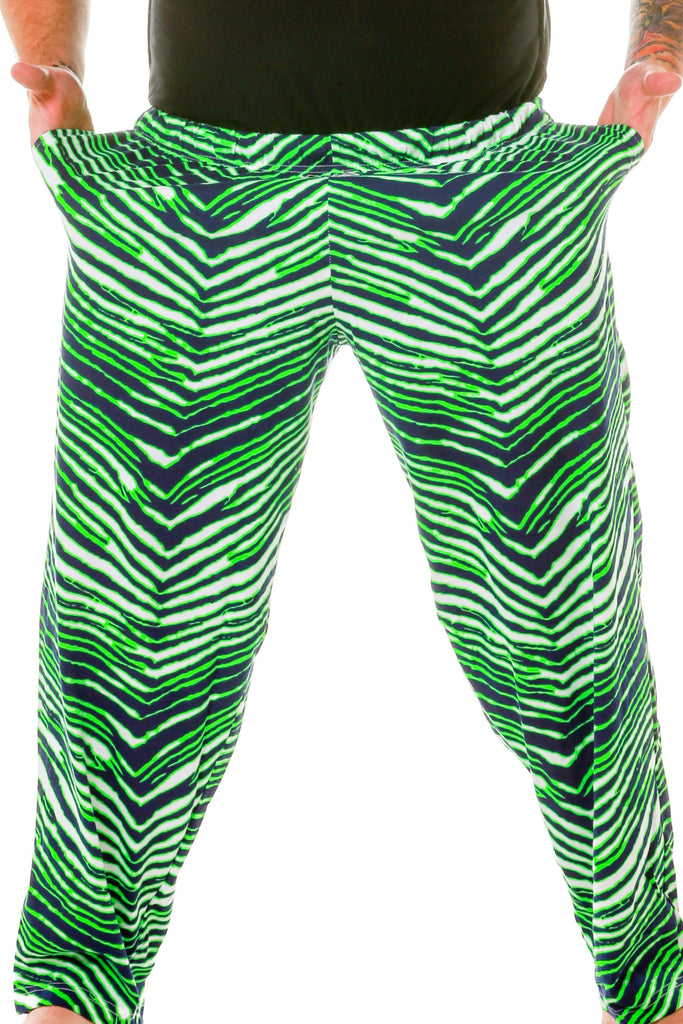 Neon Green with Navy Blue and White Seattle Seahawks Themed Game Day Hammer Pants by Zubaz With Pockets