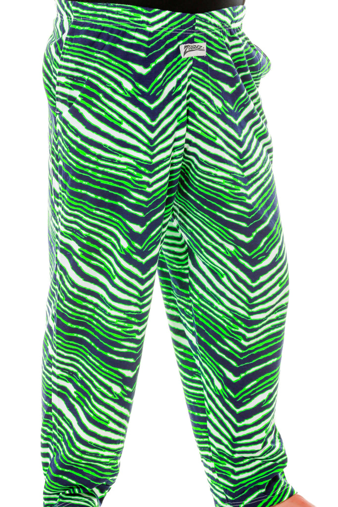 Close-up on Neon Green with Navy Blue and White Seattle Seahawks Themed Game Day Hammer Pants by Zubaz