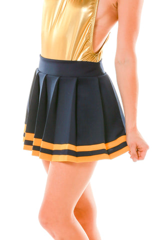 Cute Navy and Yellow Ladies Game Day NCAA Skirt - Shinesty