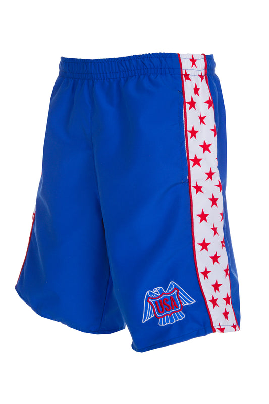 Men's red and blue athletic shorts