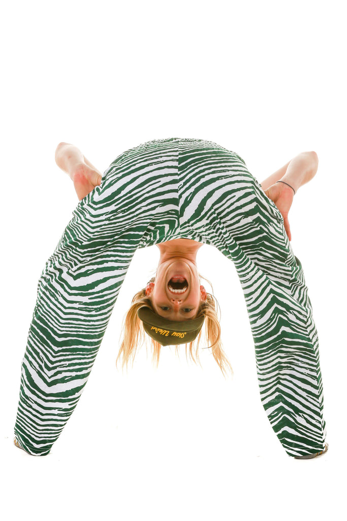 Women wearing zubaz green and white