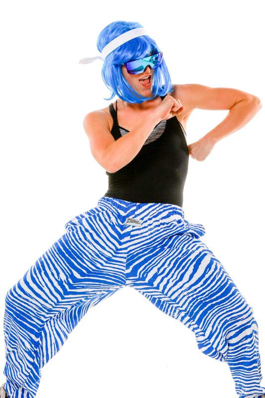 Ladies Royal Blue and White Game Day Hammer Pants by Zubaz