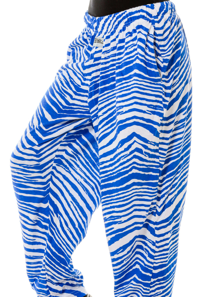 Side of Ladies Royal Blue and White Game Day Hammer Pants by Zubaz