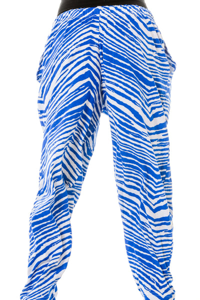 Front of Ladies Royal Blue and White Game Day Hammer Pants by Zubaz