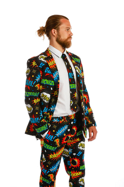Men's Suit Jacket Comic Strip Print