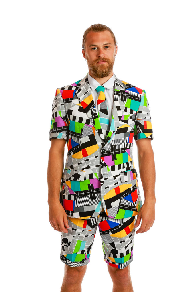 Angry Antenna Adjuster TV Color Bar Summer Suit by Opposuits