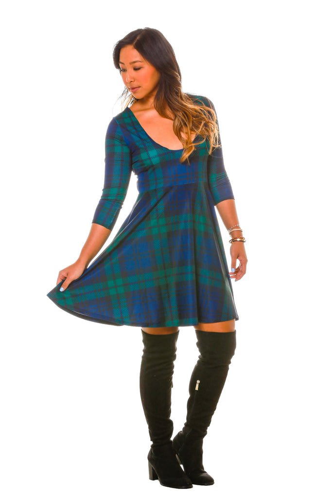 plaid long sleeve christmas dress with reversible neckline - Green Christmas Dress