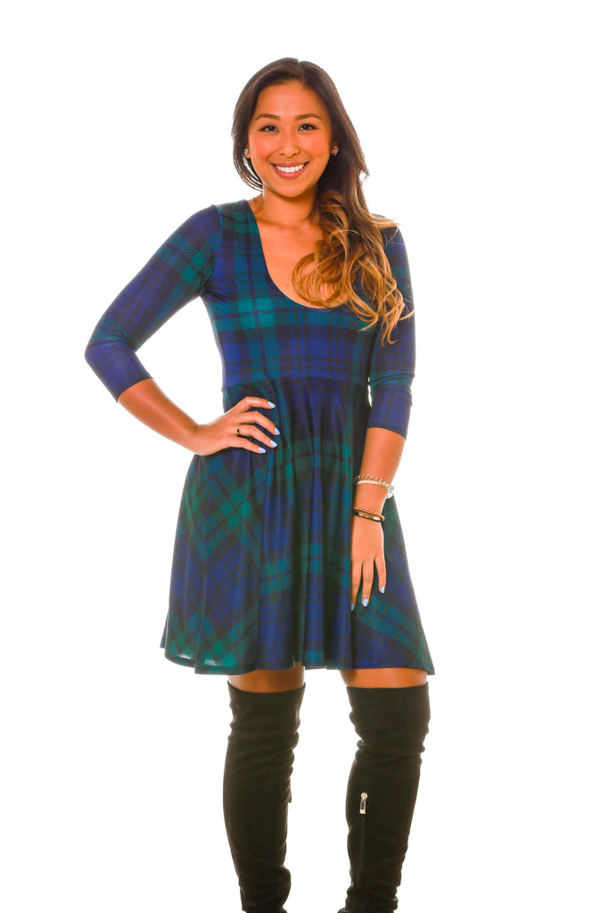 The Mariah Longsleeve Blue And Green Plaid Holiday Dress