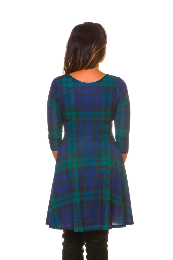 back details of womens holiday party dress with reversible neck line - Plaid Christmas Dress