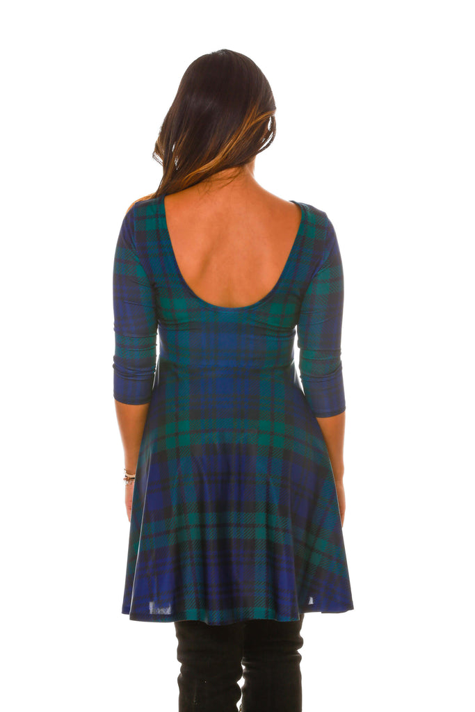 back details of womens christmas party dress with reversible neck line
