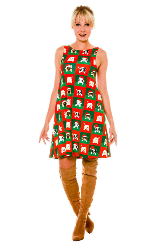 Cute Ladies Puppy Print Reversible Holiday Christmas Dress Posing