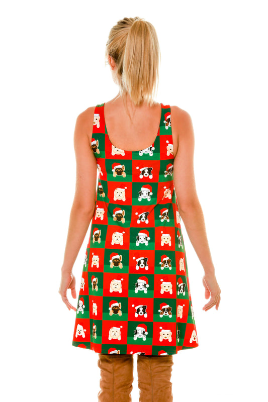 Rear of Cute Ladies Puppy Print Reversible Holiday Christmas Dress