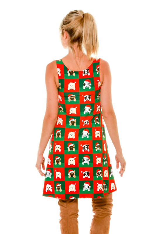 Back of Cute Ladies Puppy Print Reversible Holiday Christmas Dress