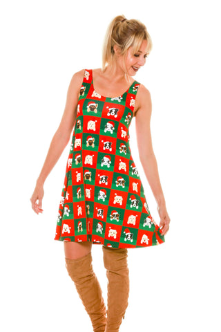 Cute Ladies Puppy Print Reversible Holiday Christmas Dress