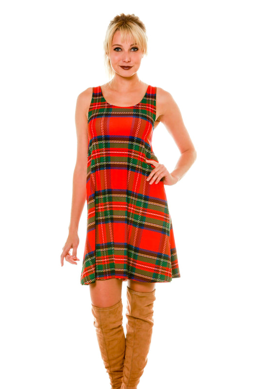 Red and Green Plaid side of the reversible puppy print Christmas holiday dress