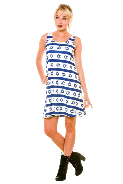 Posing White with Blue Hanukkah Pattern Holiday Dress