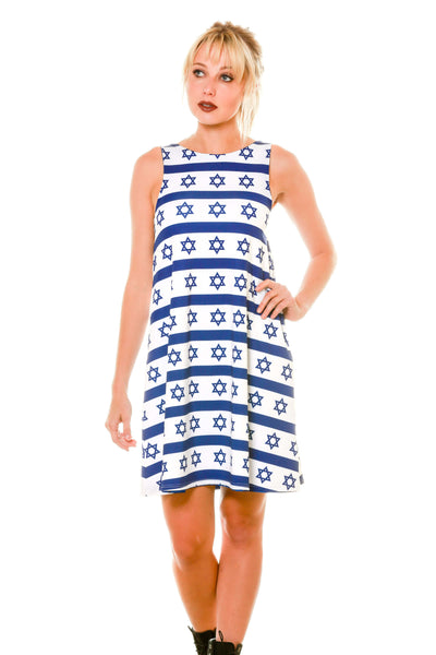 White with Blue Hanukkah Print Holiday Cute Dress with Reversible Blue Hanukkah Print Side