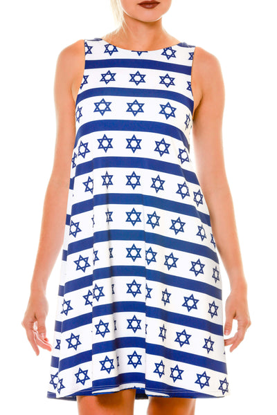 White with Blue Hanukkah Pattern Holiday Dress