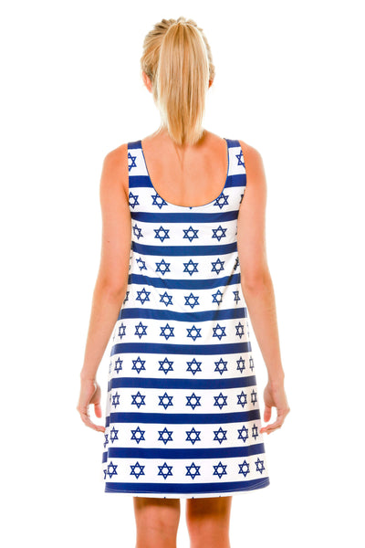Back of White with Blue Hanukkah Pattern Holiday Dress