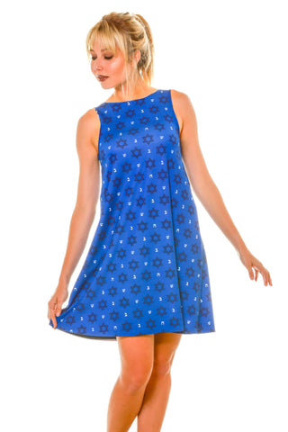 Blue Hanukkah Micro Print Holiday Themed Women's Dress
