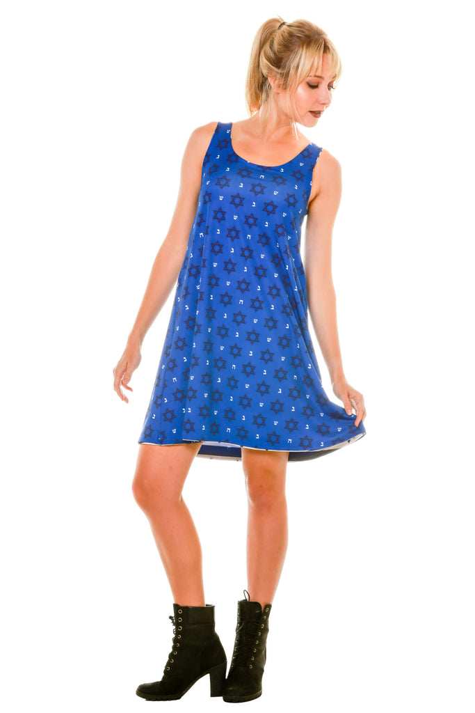 Posing Blue Hanukkah Micro Print Holiday Themed Women's Dress