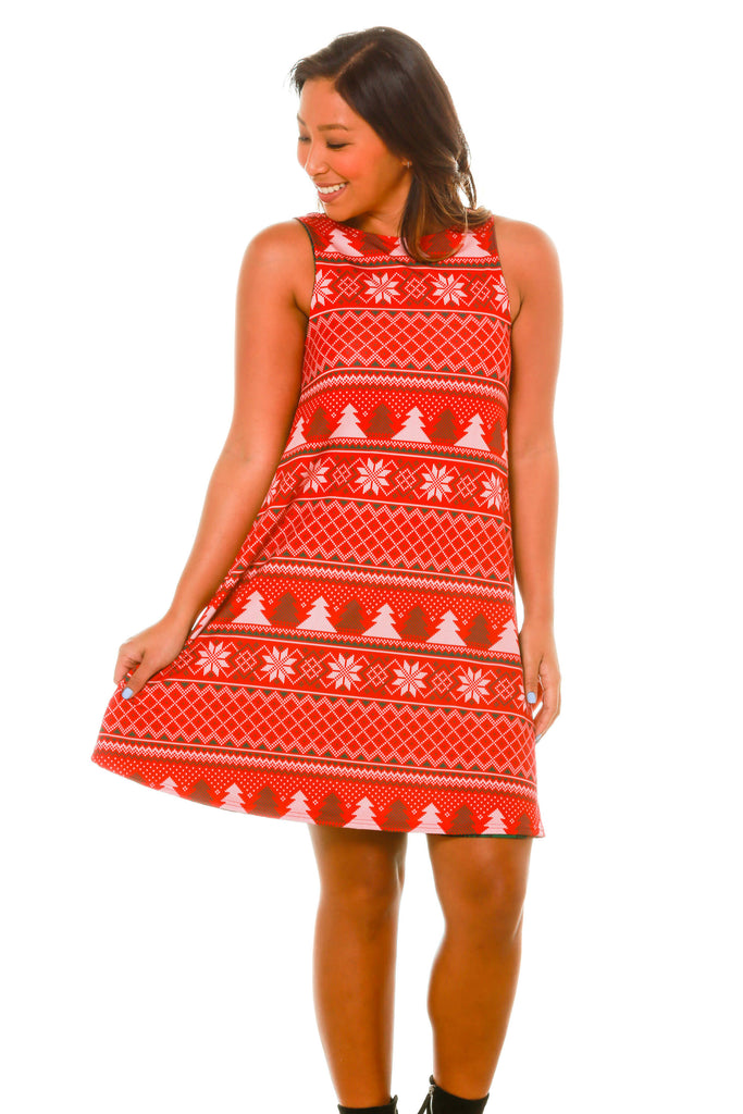 Fair Isle Of Love | Red And Green Plaid Dress