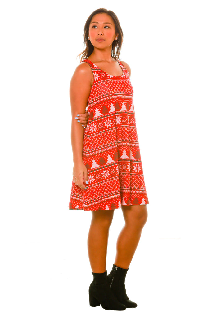 Festive Fair Isle of Love Red and Green Plaid Holiday Dress