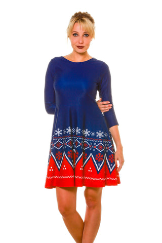 Women's Navy Nordic Long Sleeve Christmas Dress