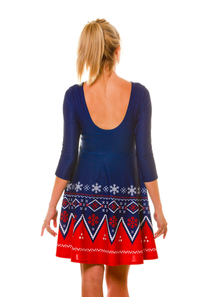 back view of navy nordic matching long sleeve holiday dress - Christmas Sweater Dress
