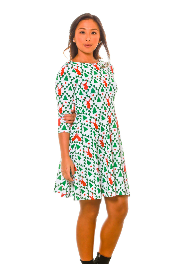 The Long Sleeve Geo | Reindeer Christmas Dress