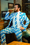 Man Drinking A Beer In The Blue And White Oktoberfest Dress Suit (a.k.a The Bavarian Gentleman) by Opposuits - Shinesty
