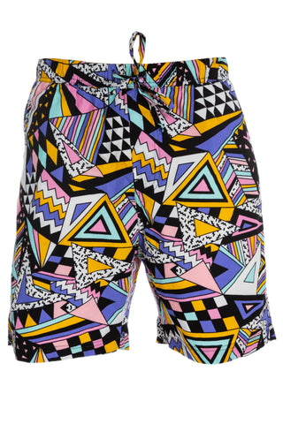 geometric design draw string shorts