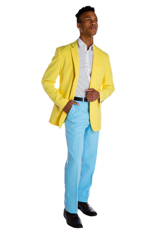 yellow pastel summer blazer for men blue pants