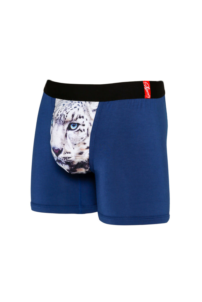 Side of Snow Leopard Men's Animal Themed Blue Boxer Brief