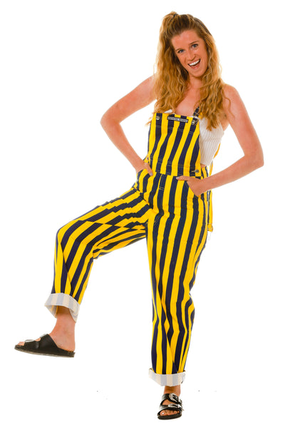 Yellow and Blue Striped Overalls