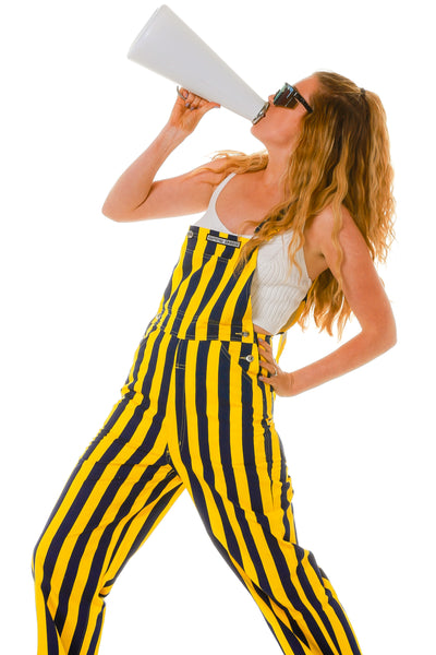 yellow and blue overalls for women