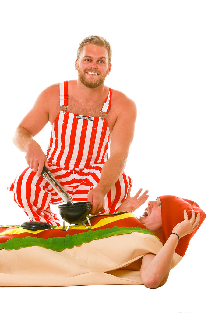 Guy in Red and White Overalls Grilling on Top of Living Hot Dog