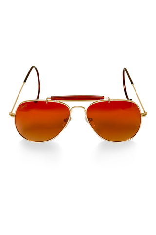 orange lens wrap around aviator sunglasses
