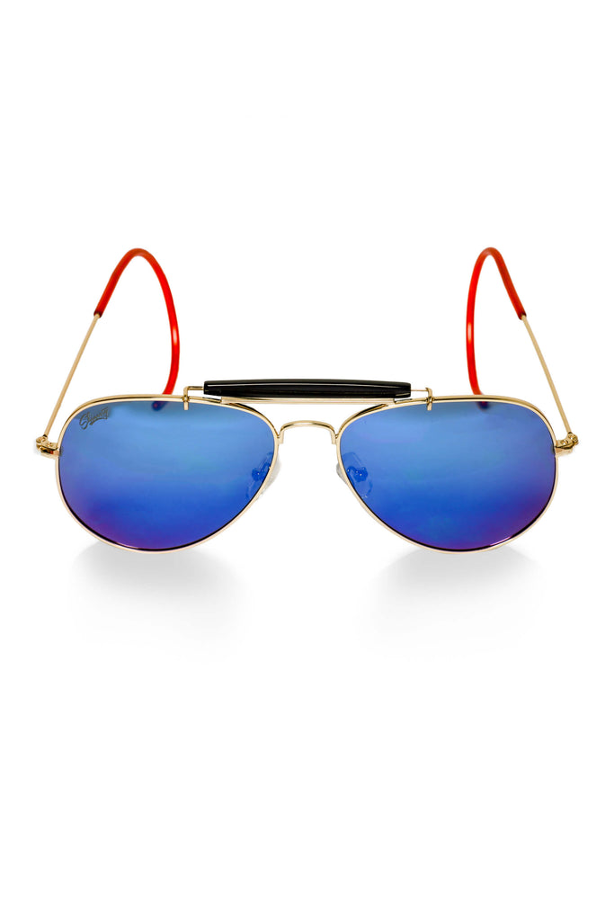 The Icemans | Wrap-Around Blue Aviator Sunglasses