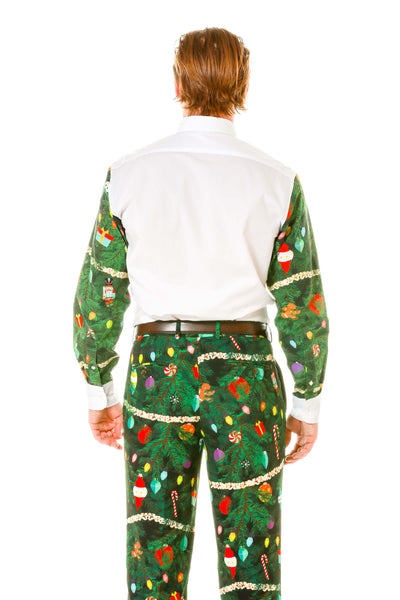 Back view Holiday party ugly christmas sweater button down
