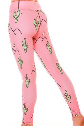 Ladies Pink Cactus Festival Leggings Perspective Thread