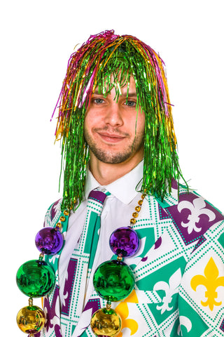 Men's Mardi Gras Tinsel Wig